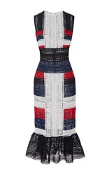 Naeem Khan Color Block Flounced Hem Midi Dress White Blue Black