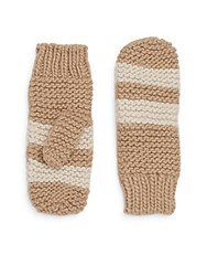 Saks Fifth Avenue Striped Mittens Yeti Oat