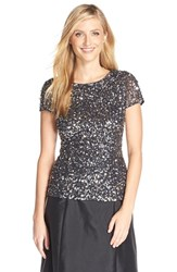 Adrianna Papell Women's Short Sleeve Sequin Mesh Top Charcoal