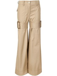 Sacai Buckle Strap Trousers Nude And Neutrals