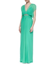 Jenny Packham Crystal Embellished Draped Chiffon Gown Mint