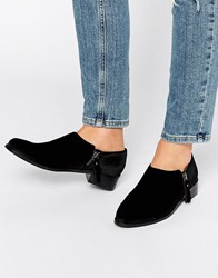 Office Flex Side Zip Velvet Flat Shoes Black Velvet