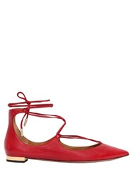 Aquazzura 10Mm Christy Lace Up Nappa Leather Flats