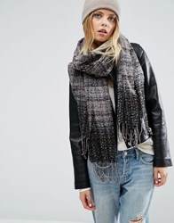 Asos Oversized Long Woven Scarf In Multi Boucle Multi