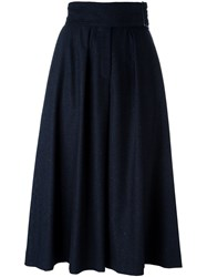 Cacharel Pleated Wide Leg Short Trousers Blue