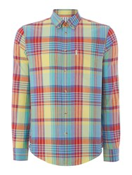 Ben Sherman Summer Check Slim Fit Long Sleeve Shirt Yellow