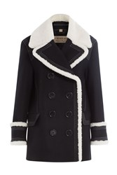 Burberry London Wool Jacket With Textured Trims Black