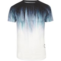 River Island Mens White Faded Print Muscle Fit T Shirt