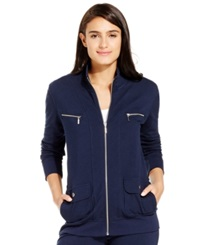 Style And Co. Sport French Terry Zip Up Track Jacket Industrial Blue