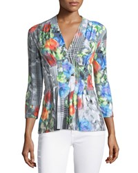 Catherine Catherine Malandrino Rea Floral V Neck 3 4 Sleeve Blouse All Over Floral