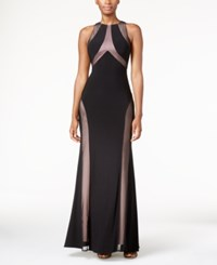 Nightway Mesh Open Back Halter Gown Black Nude