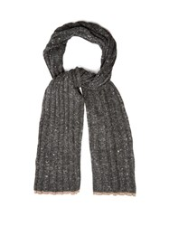 Brunello Cucinelli Ribbed Knit Wool And Cashmere Blend Scarf Charcoal