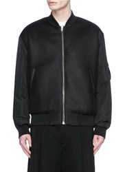 Mcq By Alexander Mcqueen 'Ma 1' Mesh And Crinkled Tech Cotton Bomber Jacket Black