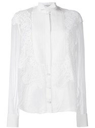 Givenchy Lace Applique Sheer Shirt White