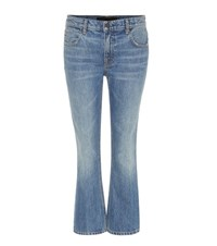 Alexander Wang Trap Mid Rise Cropped Flared Jeans Blue