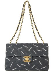 Chanel Vintage Jumbo Quilted Double Chain Shoulder Bag Black