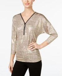 Jm Collection Metallic Zip Front Top Only At Macy's Gold Disco Dot