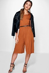 Boohoo Capped Sleeve Jersey Culottes Jumpsuit Tan