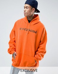 Reclaimed Vintage Super Oversized Hoodie With Gothique Print Orange