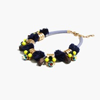 J.Crew Metal Sphere Pom Pom Necklace Navy