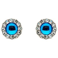 Monet Crystal Flower Stud Earrings Silver Blue