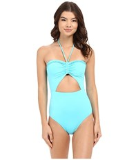 Michael Michael Kors Bohemian Rhapsody Beaded Halter Maillot One Piece Turquoise Women's Swimsuits One Piece Blue
