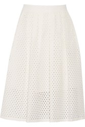 Lela Rose Perforated Cotton Blend Skirt White