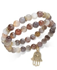 Inc International Concepts Gold Tone 2 Pc. Semi Precious Beaded Stretch Bracelet Set Only At Macy's Brown Agate