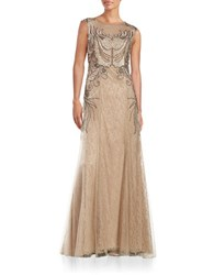 Sue Wong Embellished Lace Gown Toffee