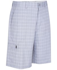 Greg Norman For Tasso Elba Men's Big And Tall 5 Iron Plaid Performance Golf Shorts Silver