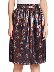 Mother Of Pearl Albany Metallicized Blossom Print Skirt Blossom Orange