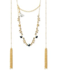 Lonna And Lilly Gold Tone Crystal Vine Tassel Choker Necklace Hematite