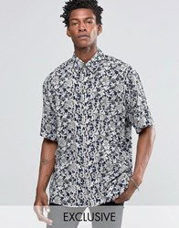 Reclaimed Vintage Festival Shirt In Lace Print In Skater Fit Navy