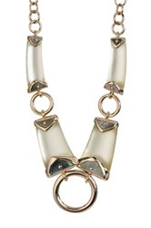 Alexis Bittar Lucite Triple Ring Bib Necklace White