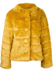 Twin Set Faux Fur Jacket Yellow And Orange