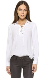 Bella Dahl Lace Up Pullover White