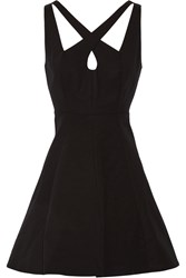 Halston Cutout Stretch Cotton Mini Dress Black