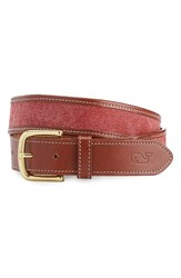 Vineyard Vines Men's Leather And Canvas Belt Jetty Red