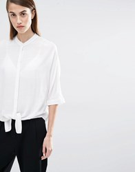 Selected Divis Tie Up Shirt Snow White
