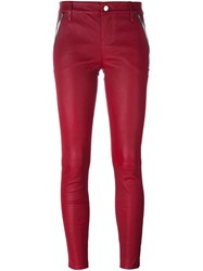 Rta Leather Skinny Trousers Red