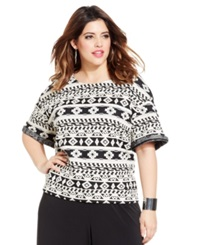 Ing Plus Size Short Sleeve Printed Top