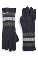 Women's Michael Michael Kors Rugby Stripe Fisherman Long Gloves Blue New Navy Derby Grey