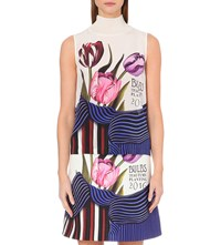 Mary Katrantzou Tulip Print Sleeveless Silk Top Tulip White