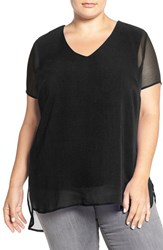 Vince Camuto Plus Size Women's Sheer V Neck Blouse With Knit Underlay Rich Black