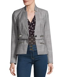 Veronica Beard Paloma Plaid Zipper Jacket Black White Red Black White Red