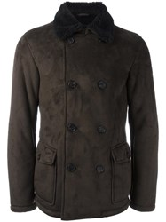 Armani Jeans Contrast Collar Peacoat Brown