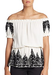 Naeem Khan Silk Beaded Blouson Top White Black