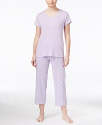 Charter Club Petite Mix It Henley Top And Cropped Pajama Pants Set Only At Macy's Purple Dot