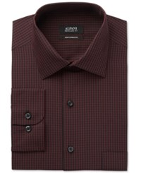 Alfani Men's Classic Fit Performance Burgundy Small Gingham Dress Shirt Only At Macy's