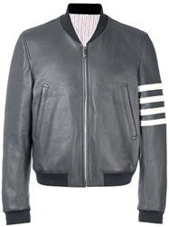 Thom Browne Leather Bomber Jacket Grey